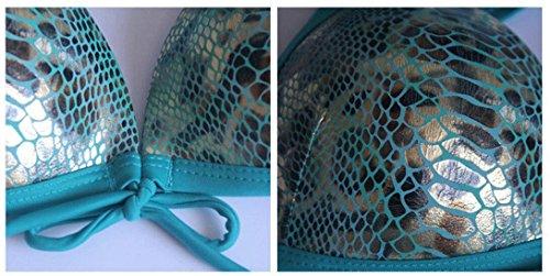 Traje de baño de moda de traje de baño de cuero de bikini Split Azul
