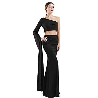 Missord Womens One Shoulder Split Long Sleeve Bodycon Maxi Party Prom Dress Black X-Small