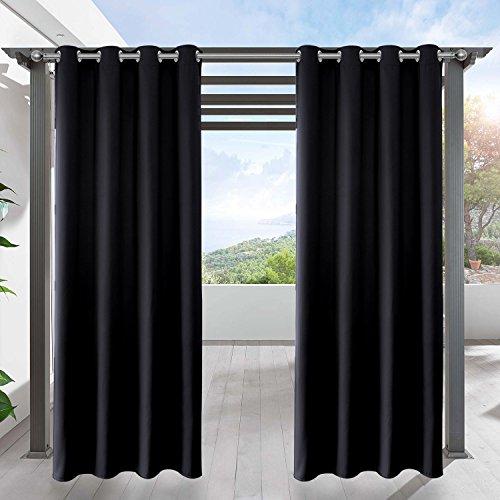 LIFONDER Blackout Outdoor Curtain Drapes - Indoor Outdoor Grommet Patio Blinds Waterproof Solid Cabana Canvas Window Curtain Panels, Black, 52