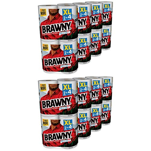 Brawny Pick-a-Size Paper Towels, White, XL Rolls, pack of 16 count (2)