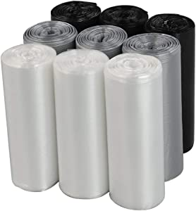 Wekiog 2.6 Gallon Trash Bags, Small Trash Can Liners, 225 Counts/ 9 Rolls(Clear, Grey, Black)