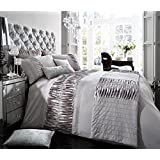 Signature Alina Diamante Pleated Duvet Quilt Cover Double Bed Bedding Set Silver by GC