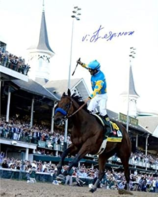 American Pharoah signed 8X10 Photo 2015 Kentucky Derby Horse Racing Triple Crown with Victor Espinoza- Steiner Hologram