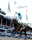 American Pharoah signed 8X10 Photo 2015 Kentucky Derby Horse Racing Triple Crown with Victor Espinoza- Hologram - Steiner Sports Certified
