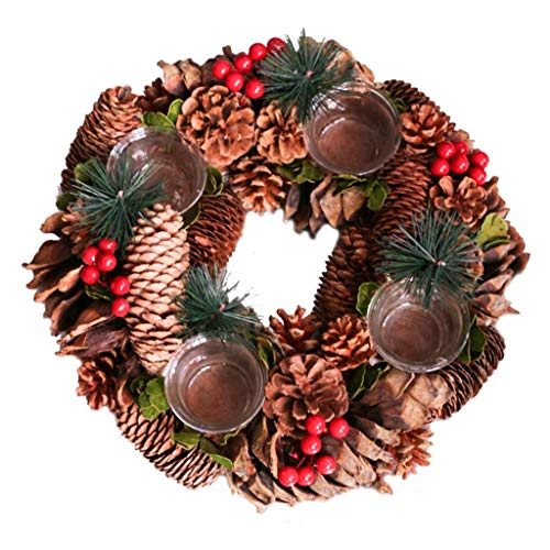 Candelabras Candlestick Christmas Wreath Candlestick Jewelry Window Desktop Decoration Pine Cones American Pastoral Country Candle Holder Romantic Gift (Color : Brown, Size : 30308cm)