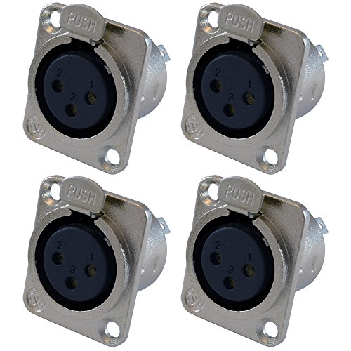 GLS Audio XLR Female Jack 3 Pin - Panel Mount Jacks D Series Size XLR-F - 4 Pack