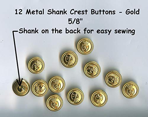 Crafting and adorning Costumes - 12 Vintage Metal 5/8'' Shank Buttons Gold 15mm- Costumes School Plays Jackets - Perfect for Crafts, Scrap-Booking, Jewelry, Dolls, Projects -