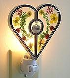 Night Light Designs- Heart Shaped Nightlight with Pressed Flowers - Hanging Engraved Love Charm - Decorative Night Light - Baby Night Lights