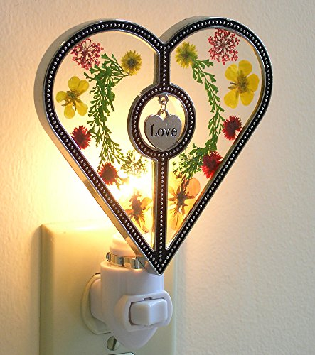 Night Light Designs- Heart Shaped Nightlight with Pressed Flowers - Hanging Engraved Love Charm - Decorative Night Light - Baby Night Lights