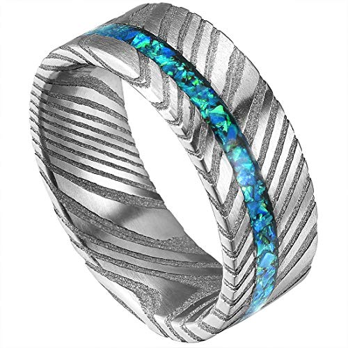 DOUX Mens 8mm Rare Damascus Steel Wedding Ring Real Blue Opal Inlay Engagement Band Flat Style 7 by DOUX