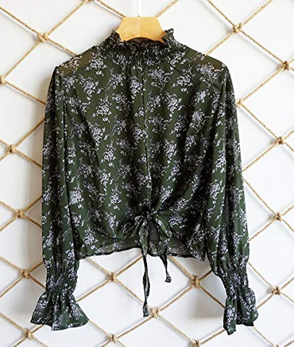 Blouse Printemps Hauts Shirts avec Tee Mode Automne Casual Tops Vert JackenLOVE Flare Court Bandage Chemisiers Sleeve Imprime Femmes aROwdWq