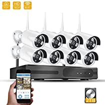 GXA Home Bussiness Wireless Security Systerm,8 Channel 960p HD NVR Kits with 8 PCS 960P Wireless HD IP Cameras (Built-in Router and 2TB HDD, Reliable Long Range WiFi,100ft IR-CUT, IP65)White