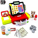 27 Piece Cash Register Set With Pretend Play Food, Money, Lights and Sounds by Big Mo's Toys