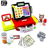 Big Mo's Toys 27 Piece Cash Register Set with Pretend Play Food, Money, Lights and Sounds
