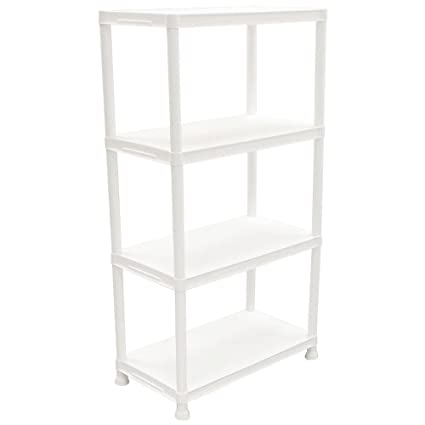 Fabulous Hdx 4 Shelf 15 In D X 28 In W X 52 In H White Plastic Storage Shelving Unit Interior Design Ideas Lukepblogthenellocom