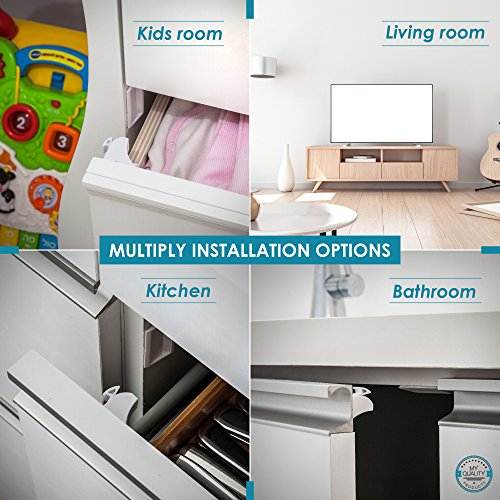 Invisible Magnetic No Drill Safety Lock: Keep Your Baby Safe! Secure Kitchen & Bedroom Cabinets & cupboards With 8 Child Proof Door & Drawer Locks for Kids & toddlers.2 Keys & 3M Adhesive Straps by MQP (Image #8)