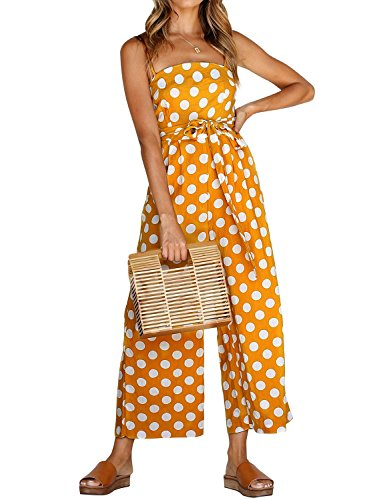 WLLW Women Spaghetti Strap High Waist Polka Dots Jumpsuit Playsuit with Pockets