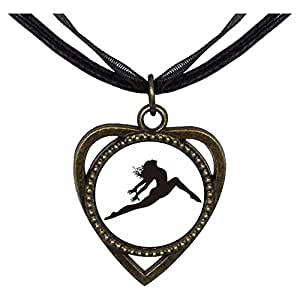 Chicforest Bronze Retro Style Dance themes Ballet Dancer Heart Shaped Pendant