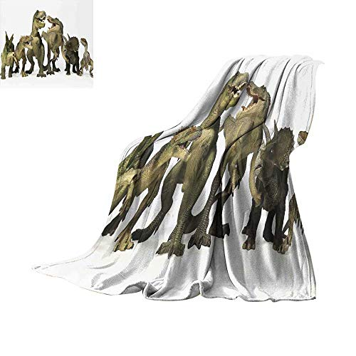 RamonDecorFH Kids,Plush Throw Blanket Dinosaurs T Rex Jurassic 3D Dino Fossil Art Design History for Couch Bed Living Room W62 x L60 inch (Sofa Of History)