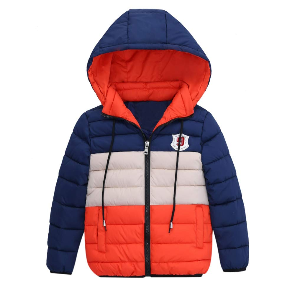 Vovotrade Children Boys Girl Winter Coats Jacket Fashion Zipper Thick Hoodie Outwear(Orange,XXL)