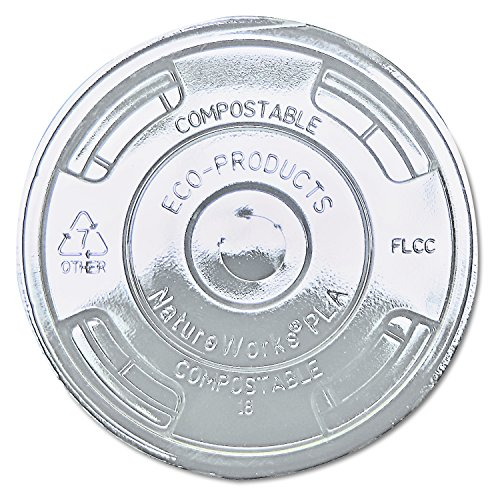 Eco-Products Compostable Flat Lid - Fits 9 - 24 oz. Cold Cups - Case 1000 - EP-FLCC