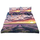 YCHY Decor Duvet Cover Set, Blooming Fields Endless Rows Agriculture Aromatherapy Rural Countryside A Decorative 3 Pcs Bedding Set with Pillowcases, King