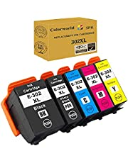 ColorWorld Remanufactured 302XL Ink Cartridge Replacement 302 T302XL T302 with Upgraded Chip Use with XP-6000 XP-6100 Printer 5 Pack ( Black Cyan Magenta Yellow Photo Black)