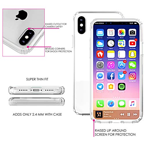 """Latest DistinctInk Clear Shockproof Hybrid Case for iPhone XR (6.1"""" Screen) - TPU Bumper, Acrylic Back, Tempered Glass Screen Protector - Repeating Bumble Bees orange iphone xr case 6"""