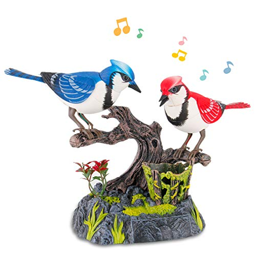 Liberty Imports Singing & Chirping Birds - Realistic Sounds and Movements (Blue - Electronic Bird Toy