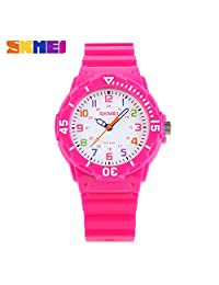 Children Waterproof Jelly Sports Quartz Watch Rose Red