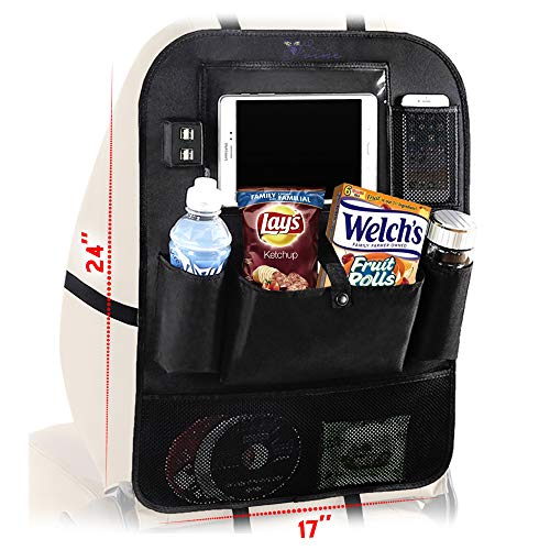 Car Backseat Organizer -Kick Mats Seat Protector with 4 USB Ports and Tablet Holder by D'Vine-1 Pack- Premium 600D Polyester Fabric and Strong Buckles-Universal fit Travel Accessories for Kids