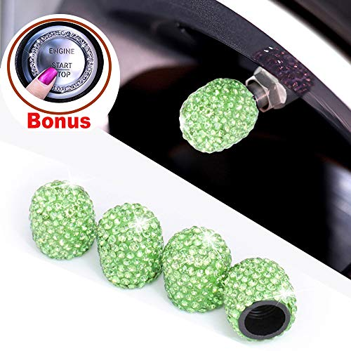 Alusbell Tyre Valve Dust Caps for Car, Motorbike, Trucks, Bike and Bicycle Crystal Rhinestone Tire Valve Dust-Proof Caps Bling Car Accessories Universal Fit (Green)