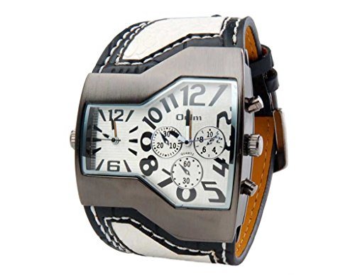 ShoppeWatch Mens Large Dial Watch Dual Time Display Quartz White Unique Dial White Leather Band OM-168