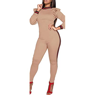 Alion Women's Long Sleeve Solid Color Casual Bodycon Long Pants Jumpsuit Romper