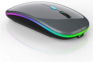 LED Wireless Bluetooth Mouse,Wireless Mouse for MacBook Pro,Wireless Mouse for MacBook Air,Rechargeable Bluetooth Mouse for Mac,MacBook Air, MacBook pro,ipad,ipad Pro (Gray)