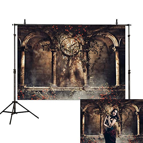 Allenjoy 7x5ft Halloween Backdrop Gothic Arch Stone Pillar Clock Vampire Brick Wall Fog Corridor Flower Vines Horror night Photography Background Decoration Photo Studio Props -