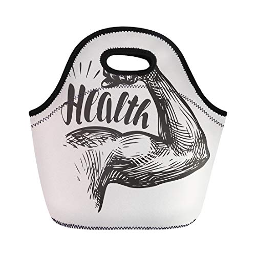 Semtomn Lunch Tote Bag Vintage Strong Arm Muscles Biceps Gym Bodybuilding Health Sketch Reusable Neoprene Insulated Thermal Outdoor Picnic Lunchbox for Men Women