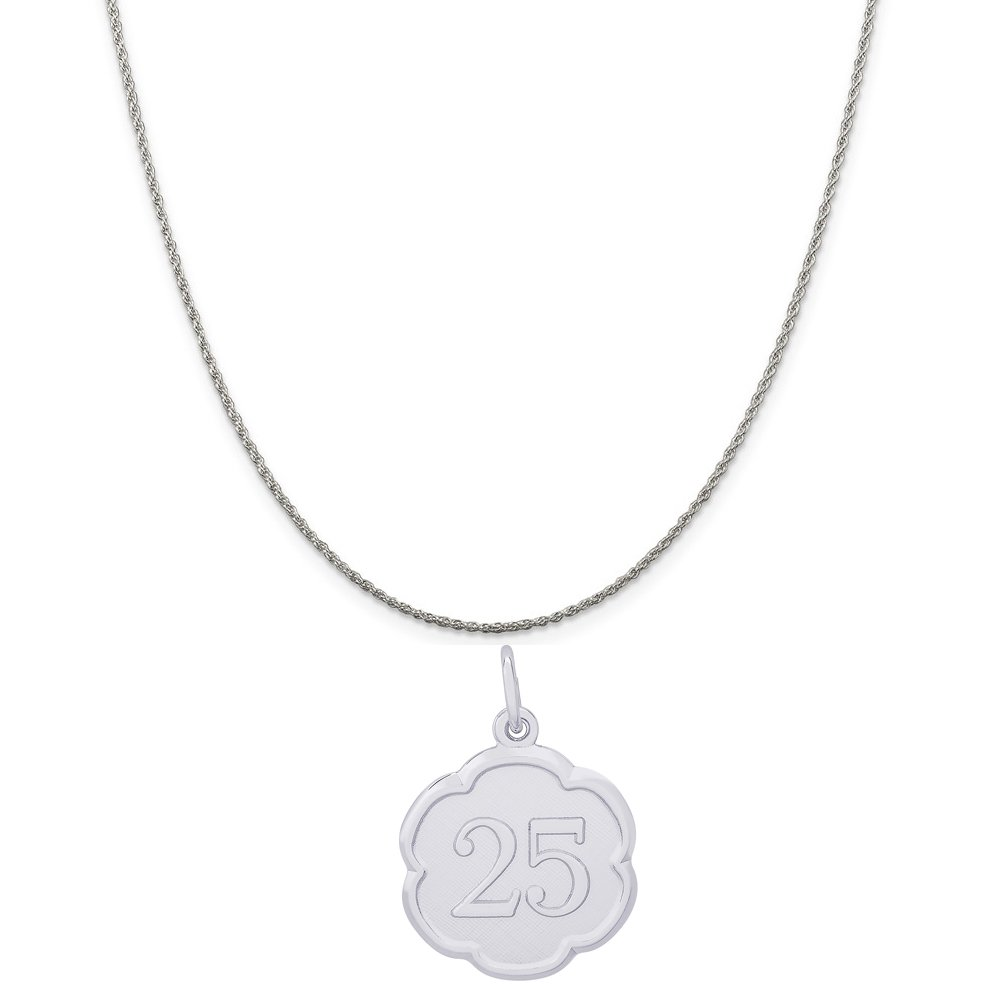 Box or Curb Chain Necklace 18 or 20 inch Rope Rembrandt Charms Sterling Silver Number 25 Scalloped Disc Charm on a 16