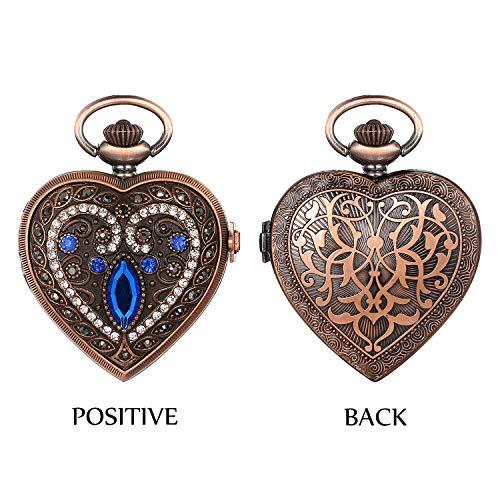 ZJZ fickur män kvinnor fickur kvartsur strass hjärta hänge halsband klocka