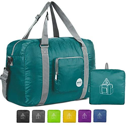 Wandf Foldable Travel Duffel Bag Luggage Sports Gym Water Resistant Nylon (Dark Green) ()