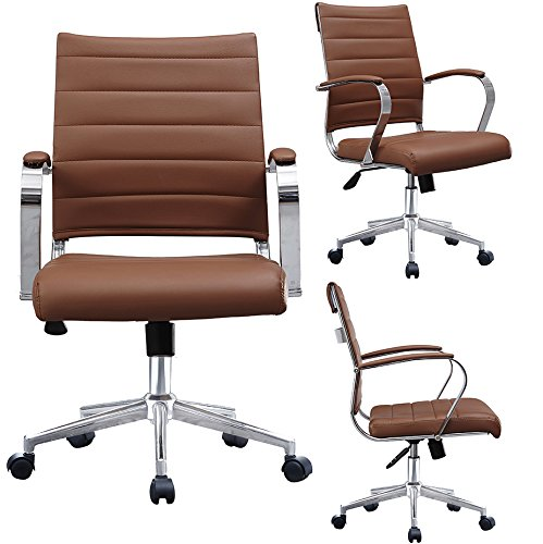 2xhome Brown Mid Century Office Chair Modern Brown Mid Back Ribbed PU Leather Swivel Tilt Adjustable Chair Designer Boss Executive Management Manager Work Task Computer With Arms Wheels Lumbar Support
