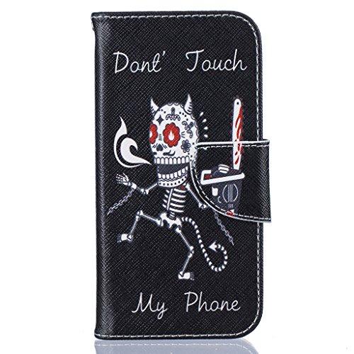 Schreckenskelett Drucken Design schutzhülle für Apple iPhone 6 6S 4.7'' (4,7''),PU Leder Wallet Handytasche Flip Case Cover Etui Schutz Tasche mit Integrierten Card Kartensteckplätzen und Ständer Funk