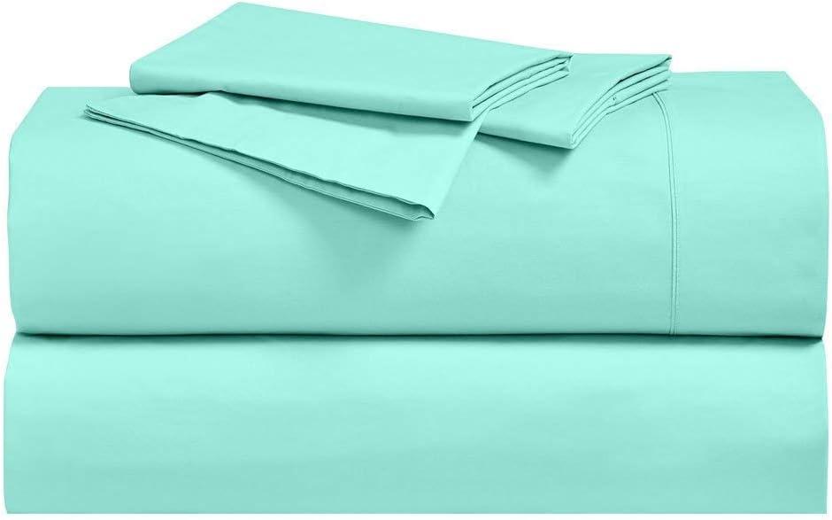 Royal Hotel Abripedic Crispy Percale Sheets, 300-Thread-Count, 4PC Solid Sheet Set, 100% Cotton, 22 Inch Super Deep Pocket, Queen, Aqua-Sky