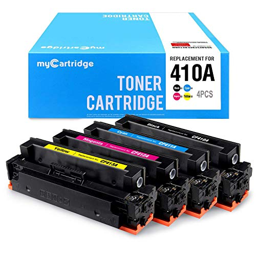myCartridge Compatible Toner Cartridge Replacement for HP 410A CF410A CF411A CF412A CF413A(Black,Cyan,Yellow,Magenta,4-Pack)