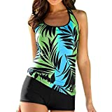 Anxinke Women Fashion Two-Pieces Leaves Printed Tankini Sets Swimsuits S-5XL (3XL)