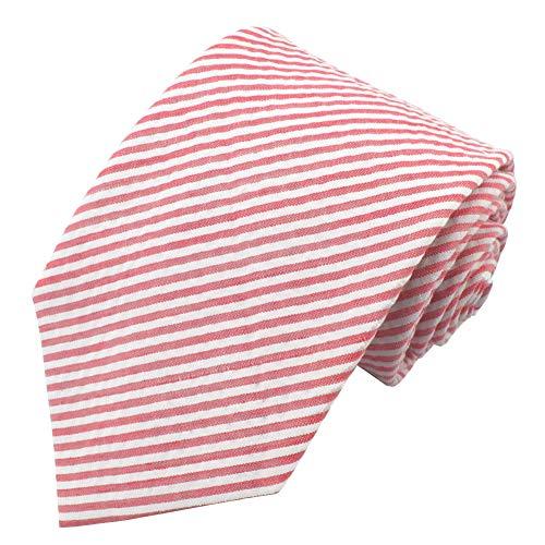 Jacob Alexander Men's Seersucker Regular Neck Tie - Red