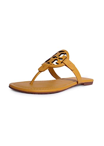 Tory Burch Women's Vachetta Leather Flat Thong Sandals - Miller (6, Dusty  Cassia)