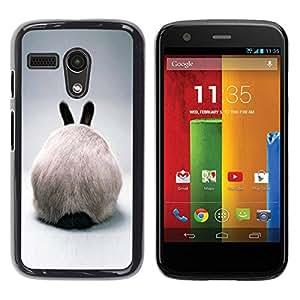 Paccase / SLIM PC / Aliminium Casa Carcasa Funda Case Cover para - Rabbit Hare Bunny White Ears Furry Grey - Motorola Moto G 1 1ST Gen I X1032