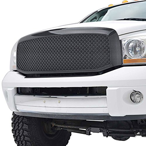 Fiber Carbon Grille - Ram ABS Replacement Grille With Shell for 06-08 Dodge Ram 1500 - Carbon Fiber Look