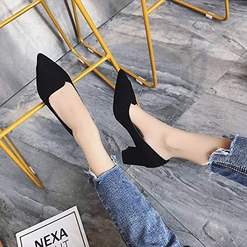 ZHZNVX básicos Poliuretano Negro Puntera PU de Black Verano Tacones Bomba Tacón Zapatos de Camel de Grueso Mujer Puntiaguda 8WwxArFBq8